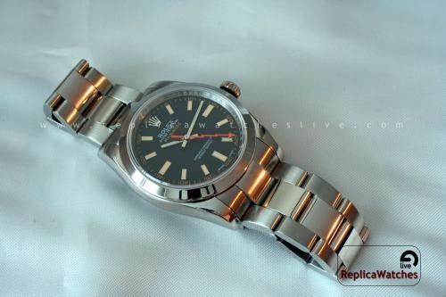 Rolex milgauss replica watch black dial 2836 copy swiss eta
