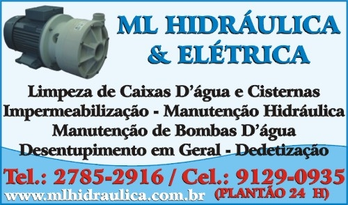 Limpeza de cisternas e caixas d'água * 2785-2916/ 9129-0935