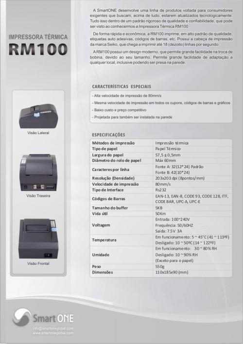 Fotos de Impressora térmica não fiscal smartone rm100 bobinas grátis! nova 57mm 1 ano gar 4