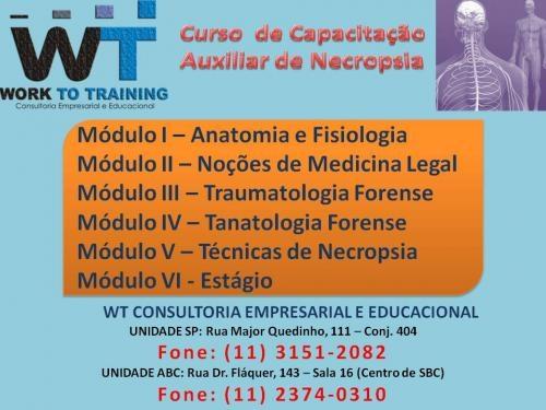 Curso de formação profissional de auxiliar de necropsia