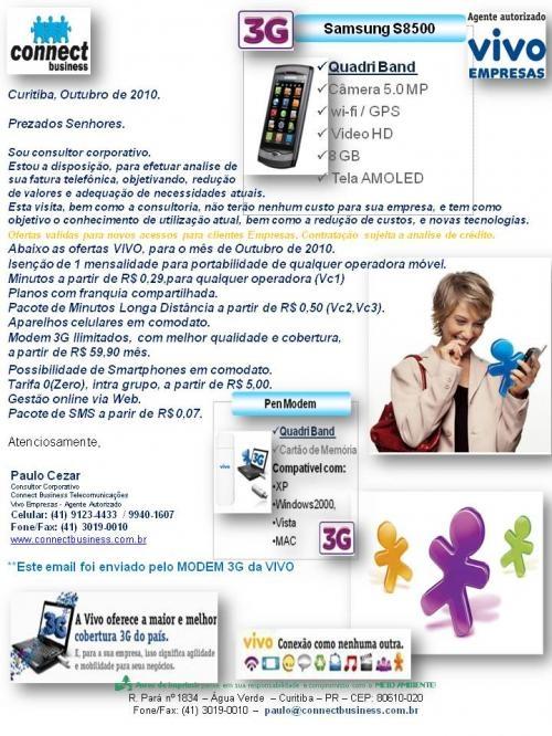 Àa paulo cezar - consultoria em telecom movel vivo empresas. paulo@connectbusiness.com.br / 41-99401607 / 91234433