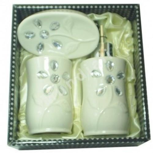 Kit/jogo para banheiro porcelana c/3 peças decorado strass