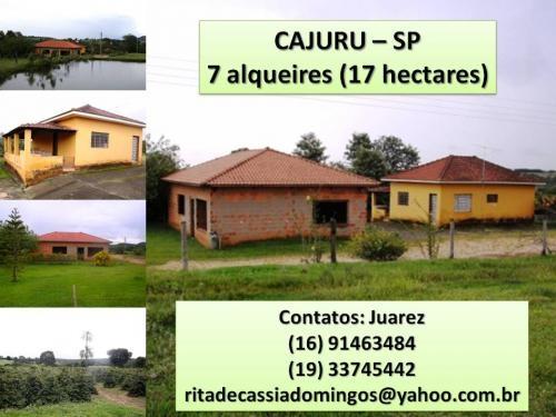 Vendo sitio de 7 alqueires (17 ha) em cajuru - sp