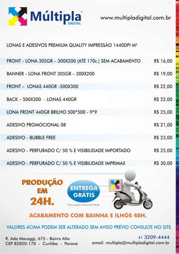 Impressão em lonas e adesivos com entrega grátis (compras acima de r$100,00)