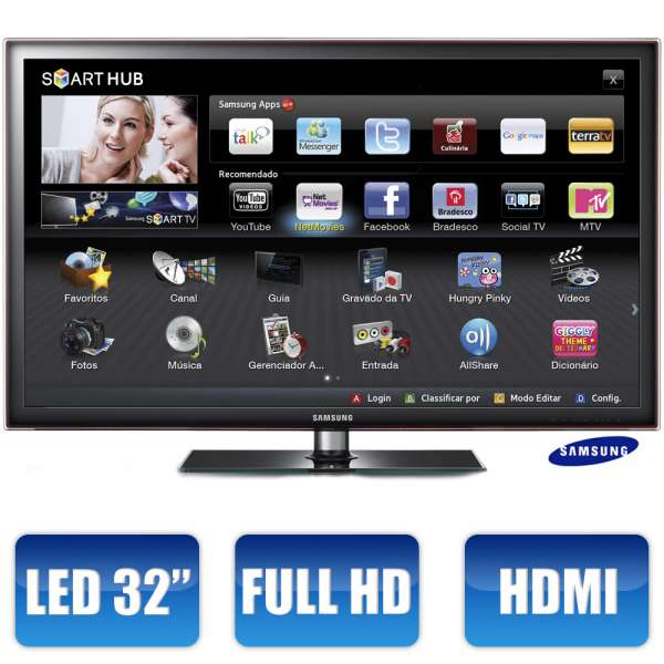 Tv 32 led samsung série d5500 un32d5500 full hd c/ smart tv