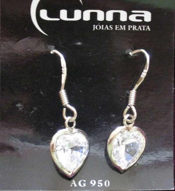 Brinco de coração com zircônia com prata