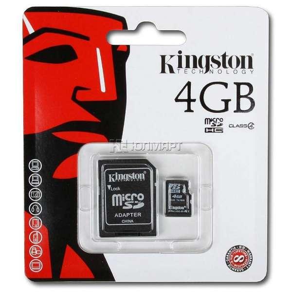 Cartão micro sd 4gb + adaptador sd kingston