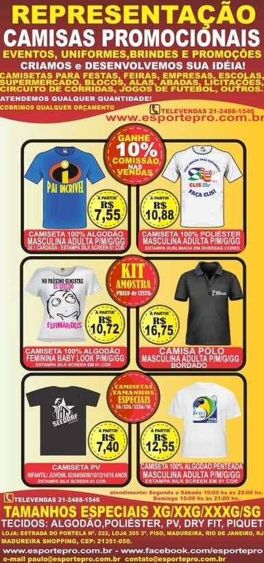 Camisas promocionais e uniformes personalizados