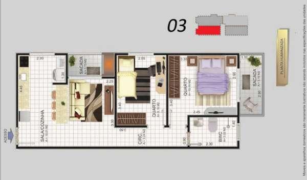 Fotos de Apartamento 2 dormitórios sacada com churrasqueira barreiros. 3