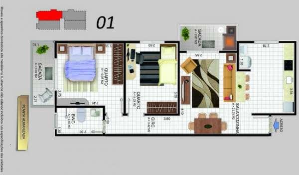 Fotos de Apartamento 2 dormitórios sacada com churrasqueira barreiros. 6