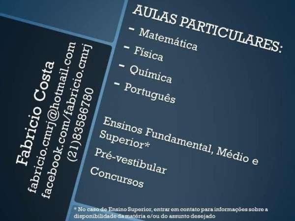 Aulas particulares de matemática, física, química e português