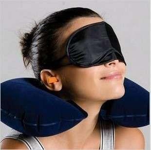 Kit boa viagem+máscara+travesseiro do pescoço+protetor auriccular