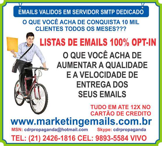 Lista de email validos smtp, base de emails, email marketing