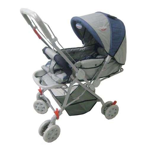 Carrinho berço para bebê rover com alça reversivel e mosqueteiro azul xadrez - prime baby