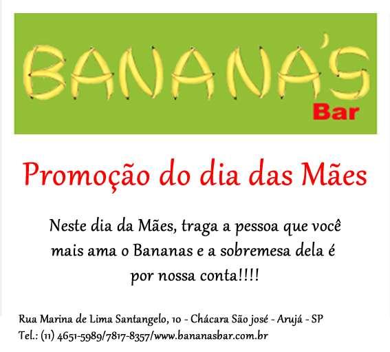 Promoção para o dia das mães no bananas bar