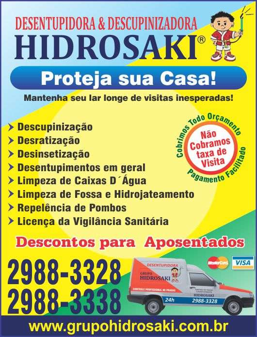 Dedetizadora e desentupidora grupo hidrosaki