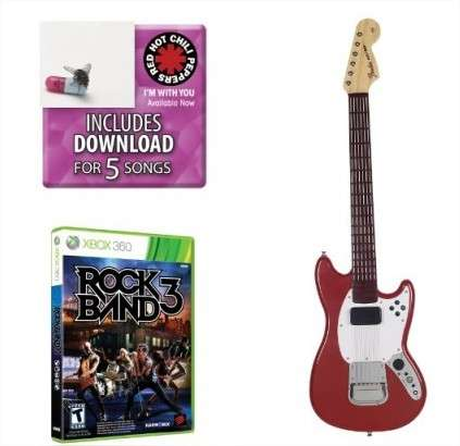 Mad catz rock band 3 pro guitar bundle includes red hot chili peppers bonus tracks full game and fender mustang pro guitar controller for xbox 360