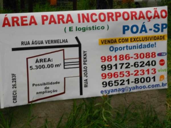 011 poá-sp, terreno de 5.300,00 m2., até superior, por quem oferece.