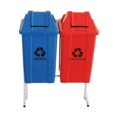 Lixeira de coleta seletiva 60l 2 cestos