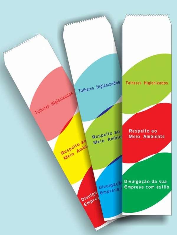 Saquinhos de papel para talher personalizados com logomarca