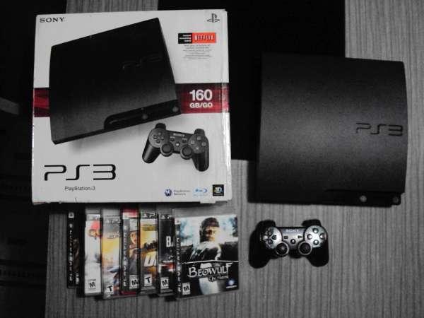 Playstation 3 ps3 160gb slim + controle + 8 jogos