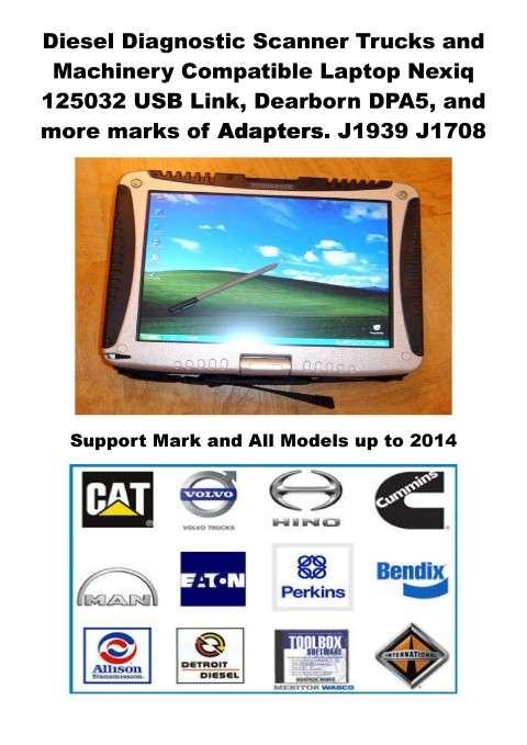 Scanner diesel laptop nexiq camiones maquinaria panasonic cf18