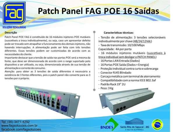 Patch panel fag 16 saídas poe e lan
