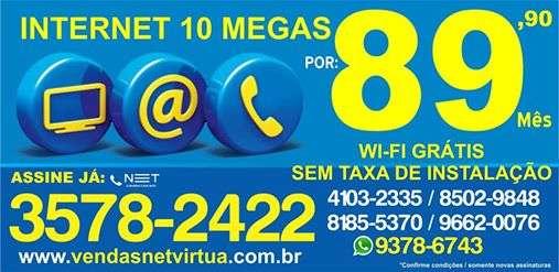 Internet 10 megas com wi-fi gratis, apenas r$ 89,90