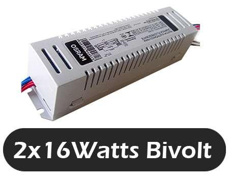 Reator 2x16 osram alto fator bi volt