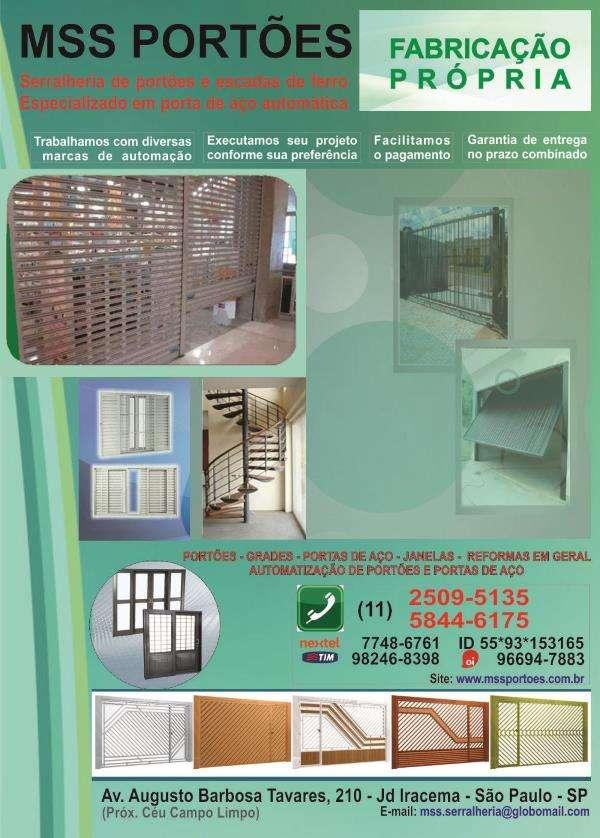 Portões - grades - portas de aço - janelas - portão automático