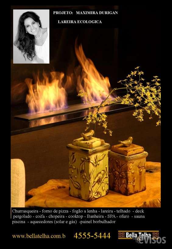 Lareira ecologica, rapida, pratica e funcional.. na bella telha vc encontra as melhores opções de lareiras ecologicas pelos melhores preços do mercado.. cobrimos qq oferta..www.bellatelha.com.br 11-4555-5444.este belissimo projeto é da arquiteta cibele pet