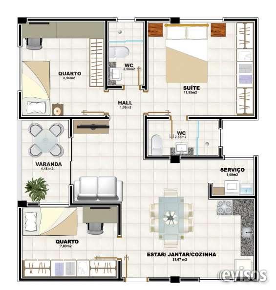 Apartamento 2 quartos revertido 3 quartos - 72m²