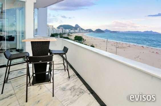 Luxuoso apartamento com 2 quartos de frente para o mar em copacabana para aluguel por temp