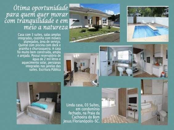 Casa térrea com piscina em condomínio - cachoeira do bom jesus - floripa/sc