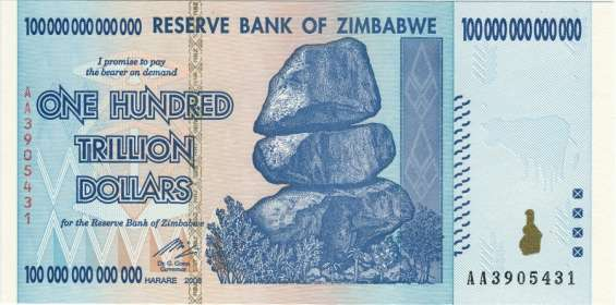 Bilhetes ou cédulas de zimbabwe 100 trilhões