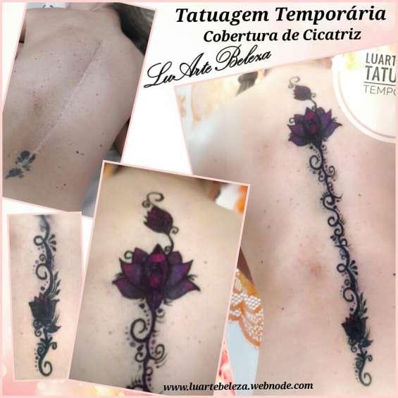 Tatuagem temporária cobertura de cicatriz