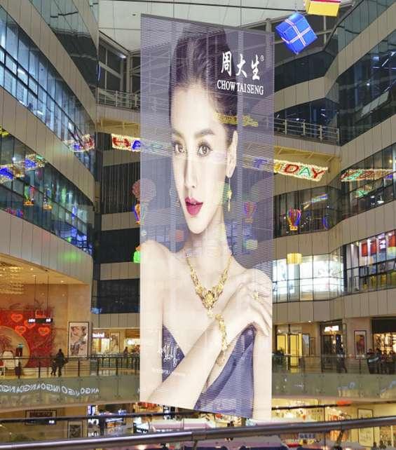 Painéis led de transparentes para parede de vidro e janelas de loja