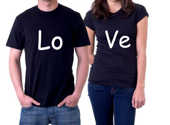 Camiseta preta personalizada love casal