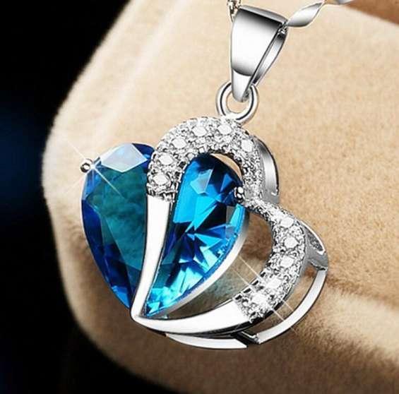 Fotos de Colar pingente coração azul celeste | colar prata jóia luxo | novo cristal 43cm