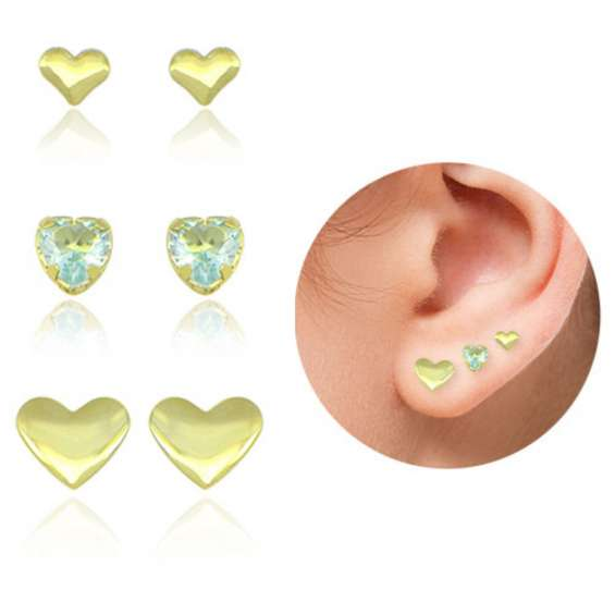 Kit de três pares de brincos folheados a ouro em formato de coração