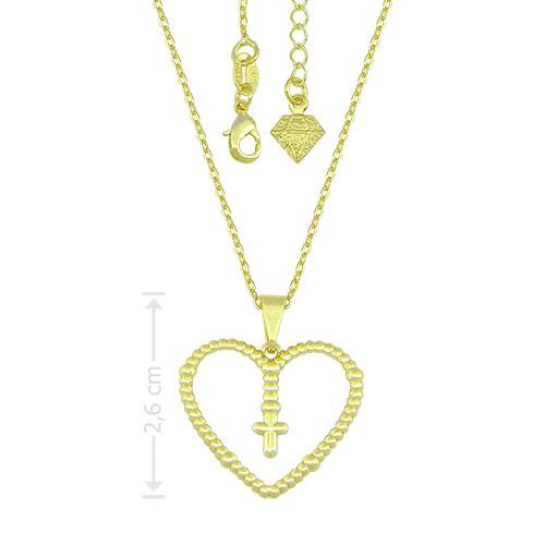 Gargantilha e pingente folheados a ouro, pingente em forma de coração contendo uma cruz